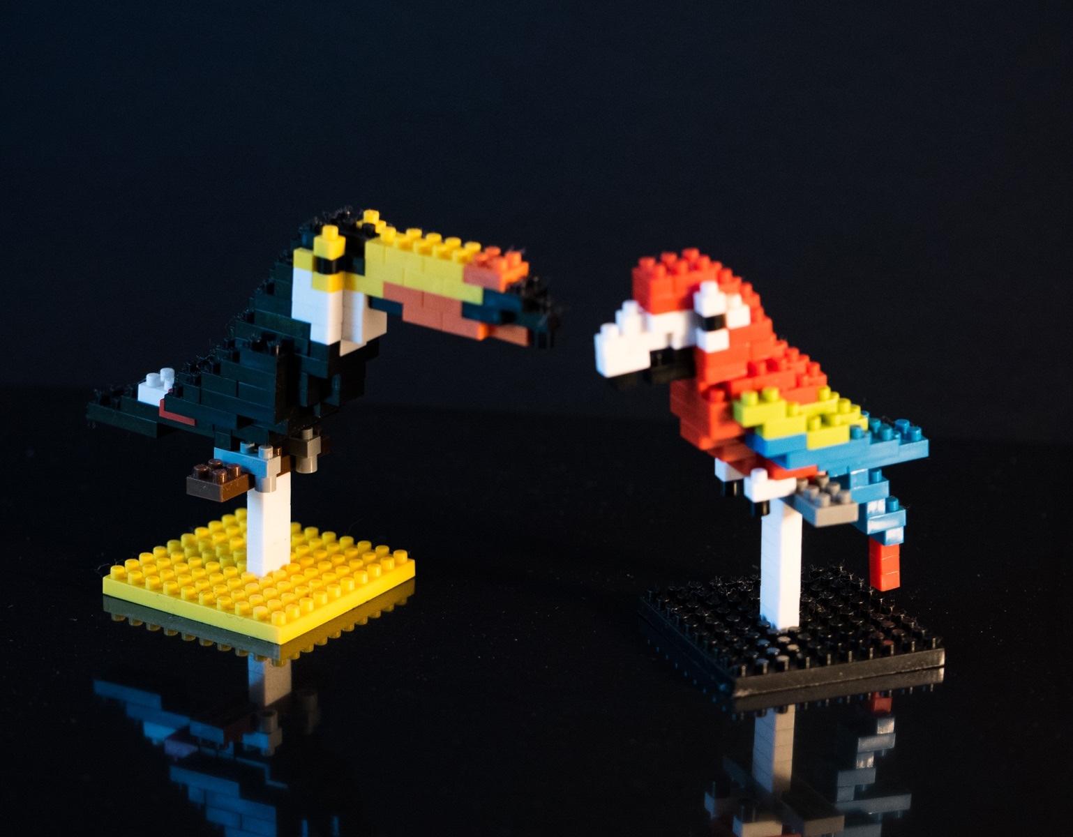 Tropical birds made fromnanoblocks