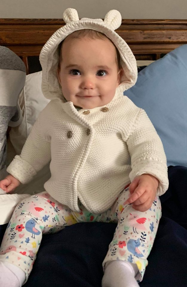 My nearly 8 month old granddaughter Emilia is adorable