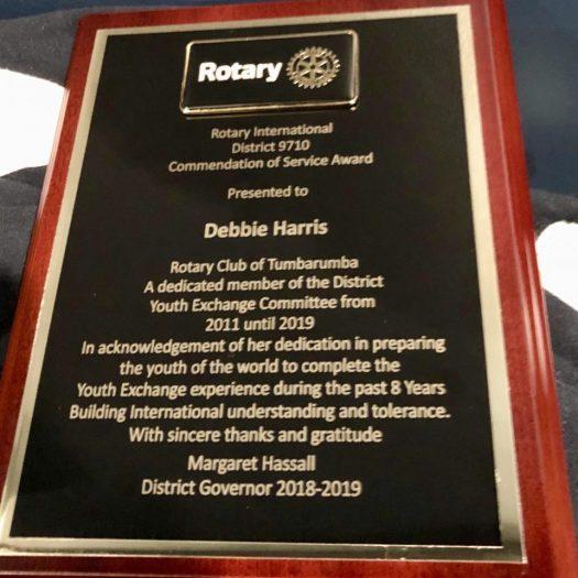 Rotary Youth Exchange award