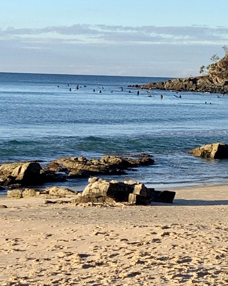 Surfers waiting at Noosa