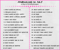 July Journal prompts