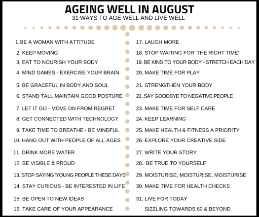 Ageing Well in August list of prompts