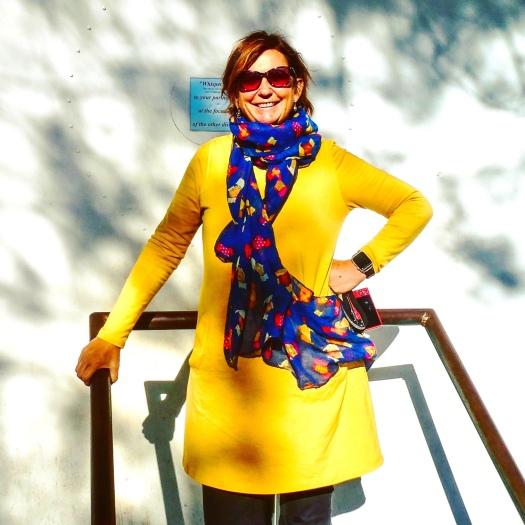 Debbie in a yellow dress