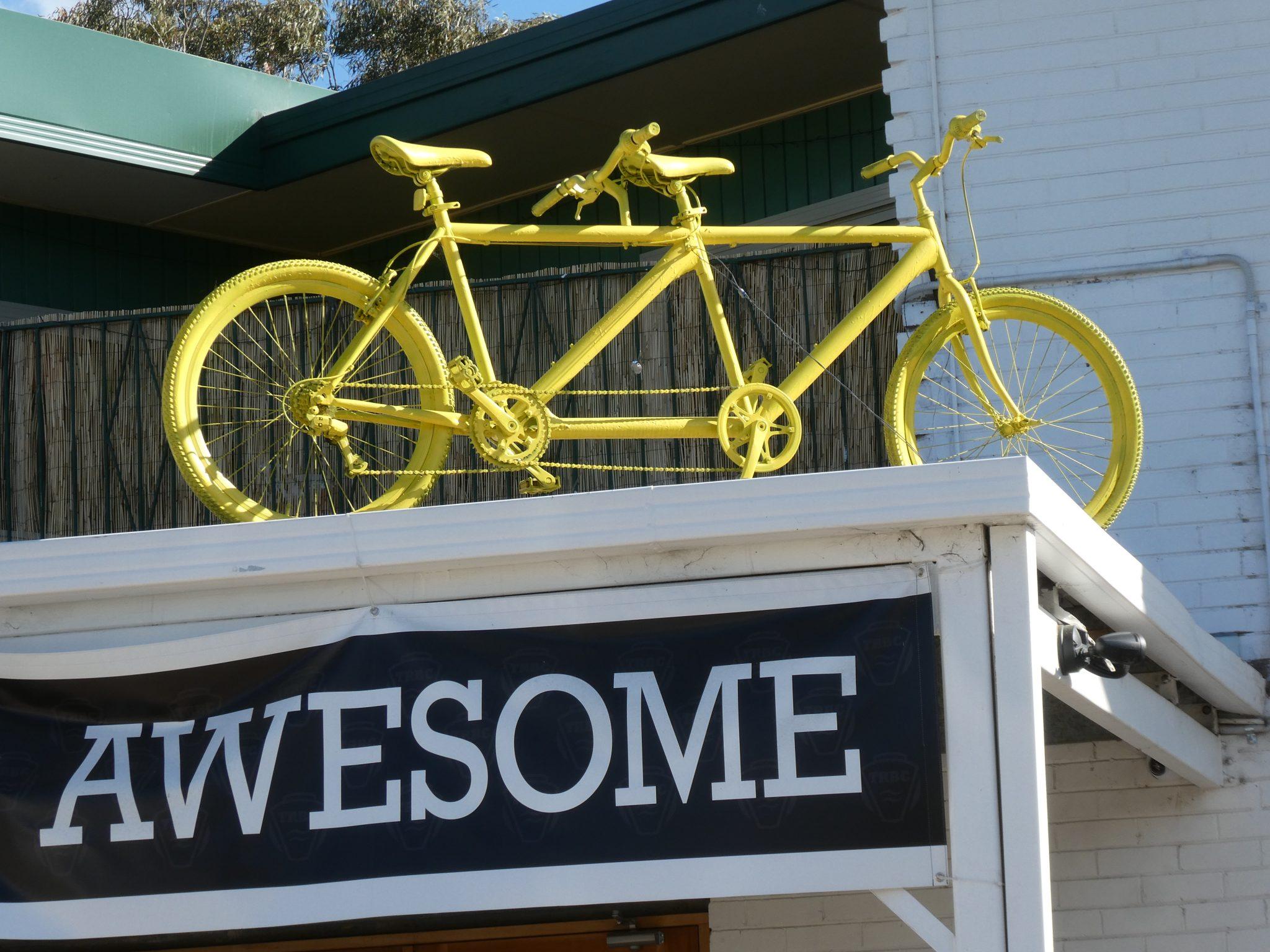 Yellow bike on roof