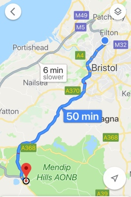 Cheddar to Bristol map