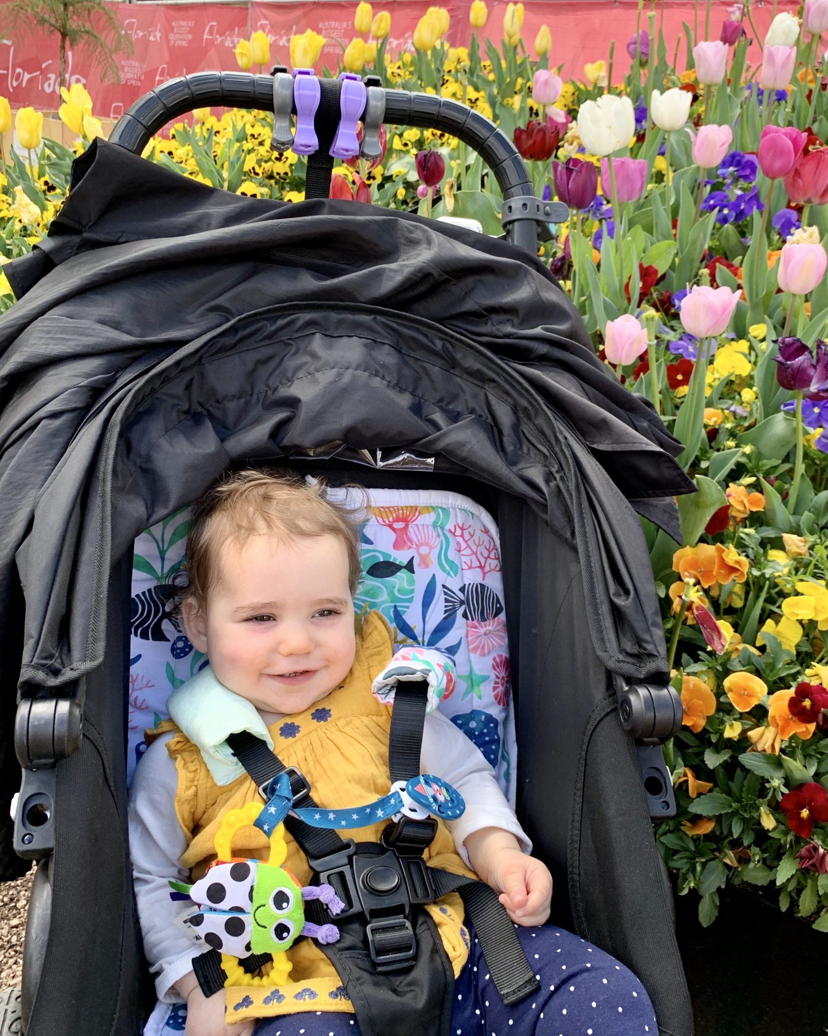 Emilia enjoyed the pretty flowers at Floriade
