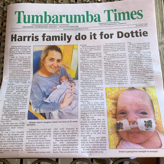 Dottie on front page of local paper