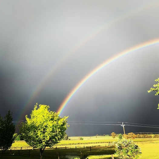 Double rainbow in a stormy sky