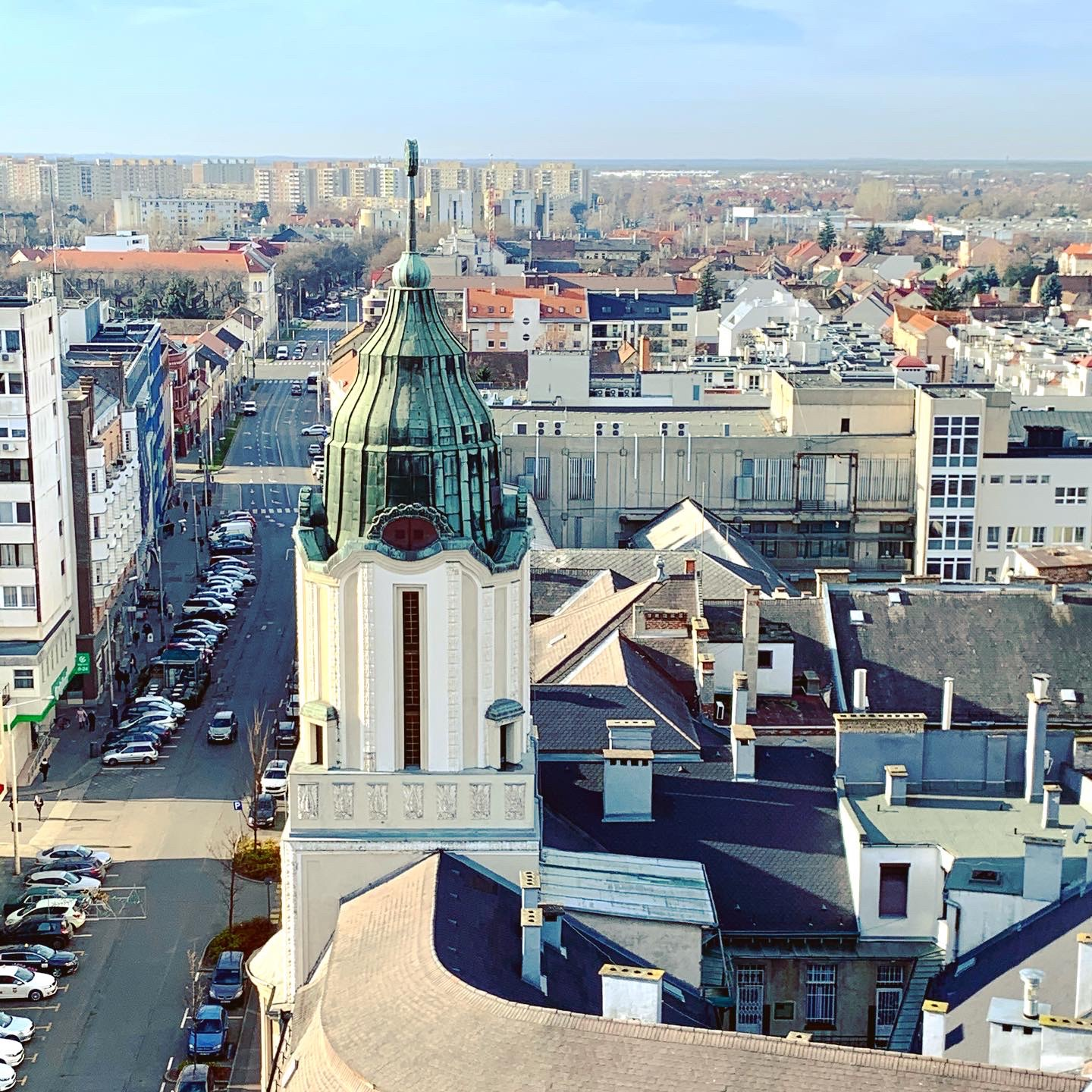 The view from the clock tower on the Reformed Great Church in Debrecen