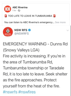 Warning about Tumbarumba bushfire