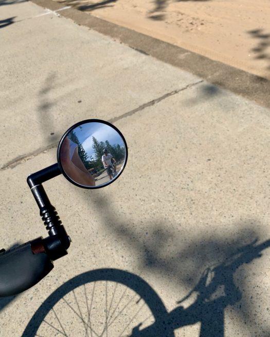 near and far bike mirror shot