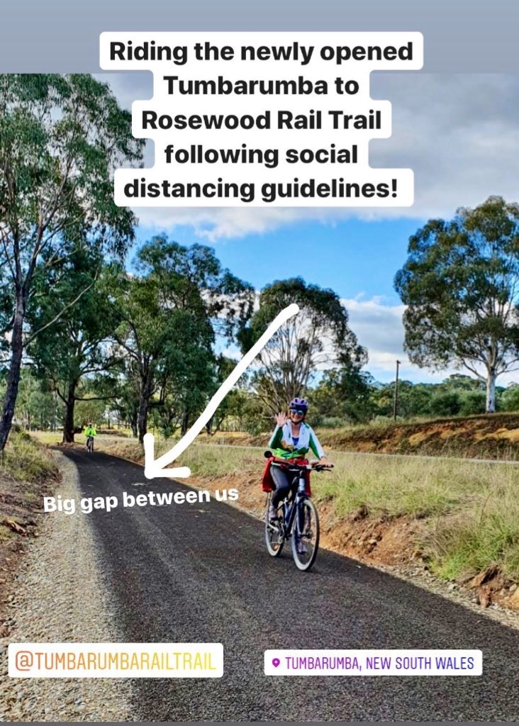 Social distancing while riding a bike