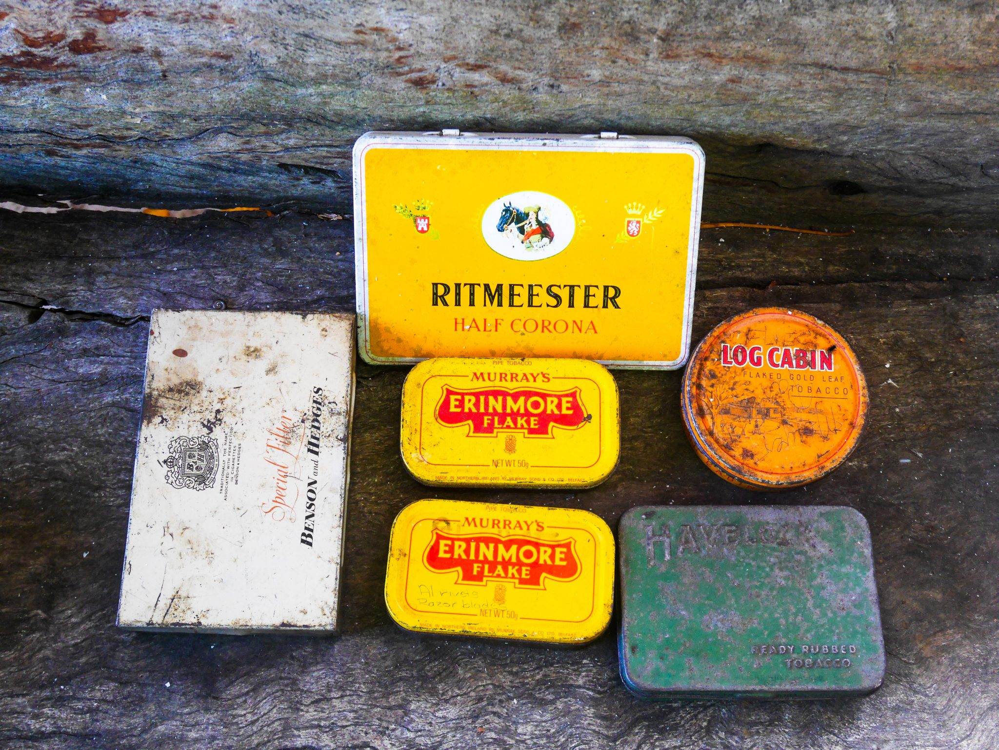6 vintage tobacco tins