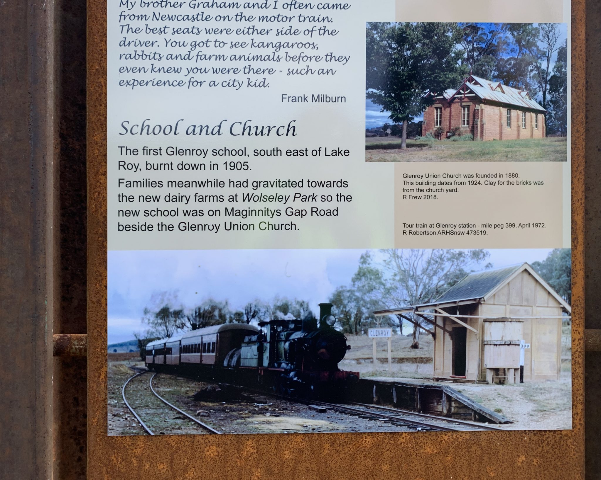 History board at Glenroy on rail trail