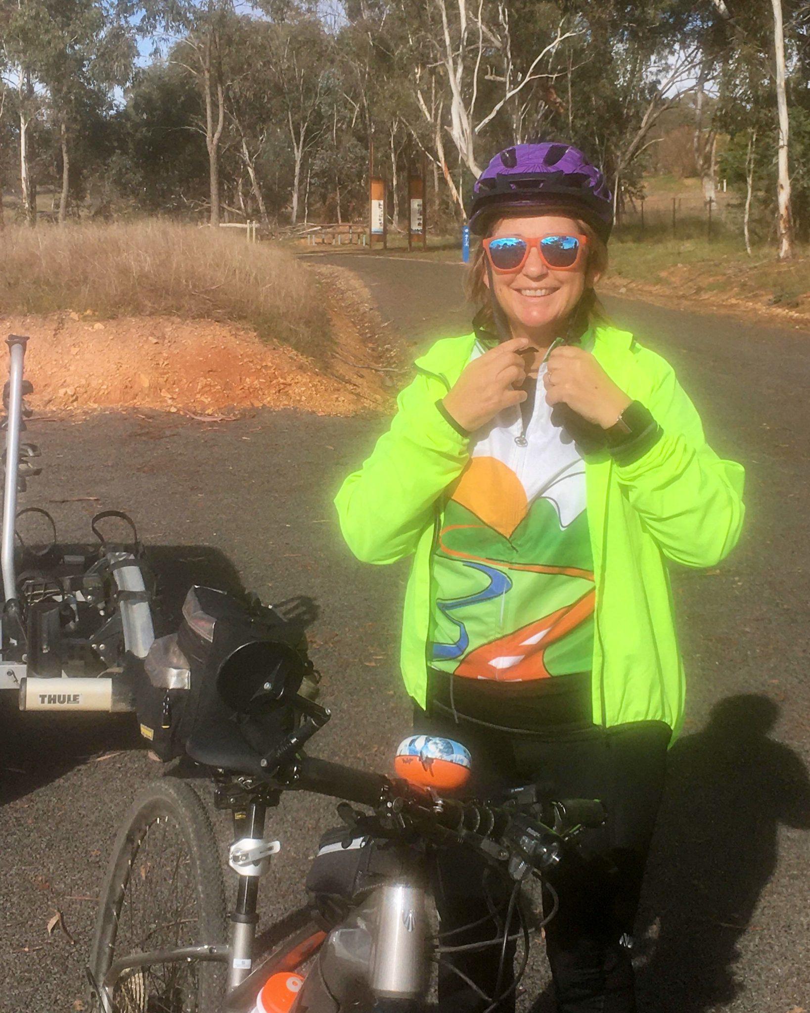 Debbie cycling the rail trail