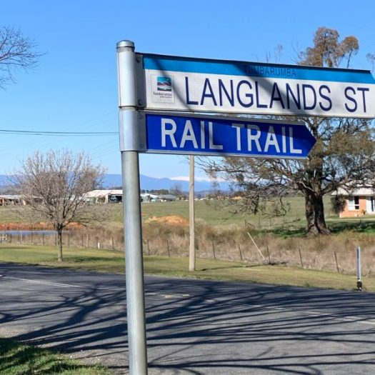 Rail trail sign Langlands st