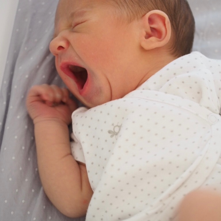 New baby yawning