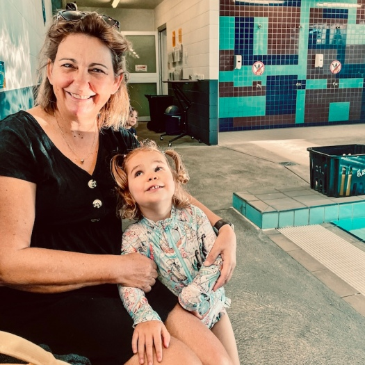 Swimming lesson fun with granddaughter