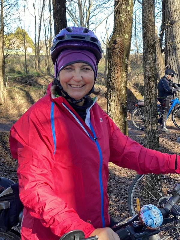 Debbie looking happy on a fun bike ride